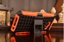 """Противоударный усиленный ударопрочный фирменный чехол-бампер-пенал для Samsung Galaxy A3 (2016) SM-A310/ A3100/ A310F 4.7""""  оранжевый"""