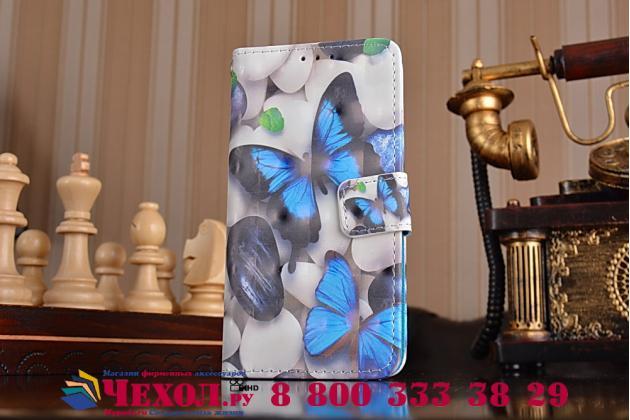 """Фирменный уникальный необычный чехол-книжка для Samsung Galaxy A3 (2016) SM-A310/ A3100/ A310F 4.7 """"тематика радужные Бабочки"""""""