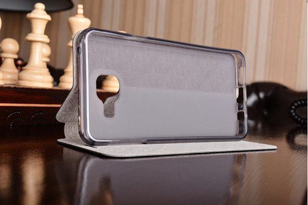 Фирменный чехол-книжка из качественной водоотталкивающей импортной кожи на жёсткой металлической основе для Samsung Galaxy A3 (2016) SM-A310/ A3100/ A310F 4.7 черный