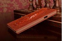 Фирменный роскошный эксклюзивный чехол с объёмным 3D изображением кожи крокодила коричневый для Samsung Galaxy A5 SM-A500F/H. Только в нашем магазине. Количество ограничено