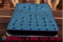 Фирменный роскошный эксклюзивный чехол с объёмным 3D изображением рельефа кожи крокодила синий для Samsung Galaxy A5 SM-A500F/H. Только в нашем магазине. Количество ограничено