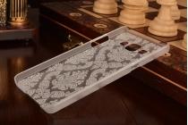 Фирменная необычная уникальная пластиковая задняя панель-чехол-накладка для Samsung Galaxy A5 SM-A500F/H прозрачная с белыми узорами