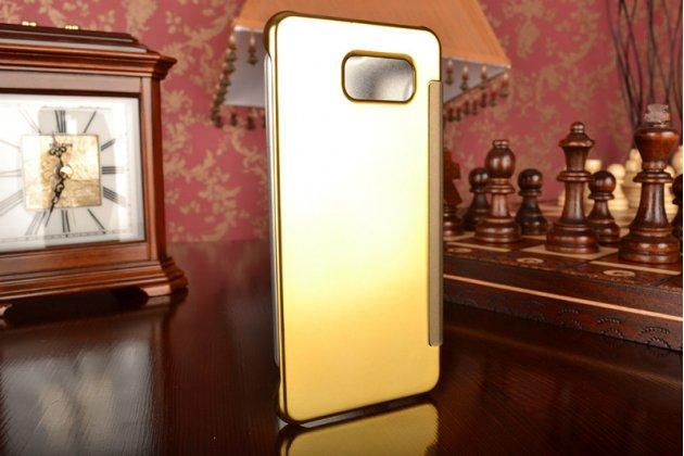 """Фирменный оригинальный чехол-книжка Samsung Galaxy A5 2016/  A5+ / A510 / A5100 5.2"""" золотой с дизайном «Clear View Cover»"""