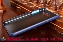 """Фирменная роскошная элитная премиальная задняя панель-крышка для Samsung Galaxy A5 2016/  A5+ / A510 / A5100 5.2""""   из качественной кожи буйвола с визитницей синяя"""
