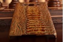 Фирменная элегантная экзотическая задняя панель-крышка с фактурной отделкой натуральной кожи крокодила кофейного цвета для Samsung Galaxy A5 SM-A500F/H. Только в нашем магазине. Количество ограничено.