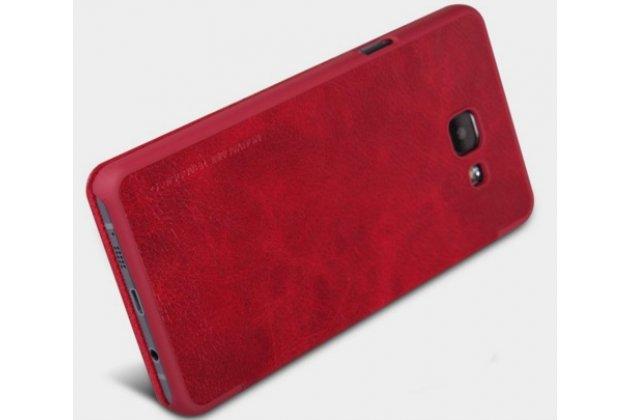 """Фирменный оригинальный чехол-кейс из импортной кожи Quick Circle для Samsung Galaxy A5 2016/  A5+ / A510 / A5100 5.2""""  с умным окном красный"""