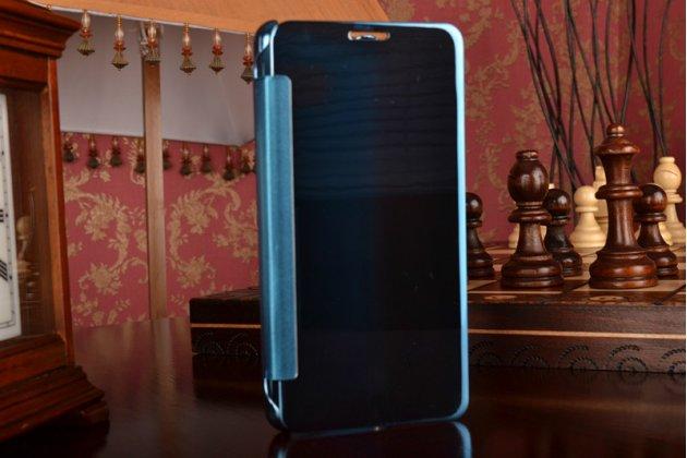 """Фирменный оригинальный чехол-книжка Samsung Galaxy A5 2016/  A5+ / A510 / A5100 5.2"""" синий с дизайном «Clear View Cover»"""