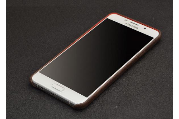 """Фирменная роскошная элитная премиальная задняя панель-крышка для  Samsung Galaxy A5 2016/  A5+ / A510 / A5100 5.2""""  из качественной кожи буйвола коричневая"""