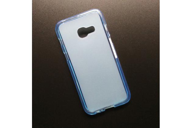 Фирменная ультра-тонкая полимерная из мягкого качественного силикона задняя панель-чехол-накладка для Samsung Galaxy A5 SM-A520F (2017) голубая