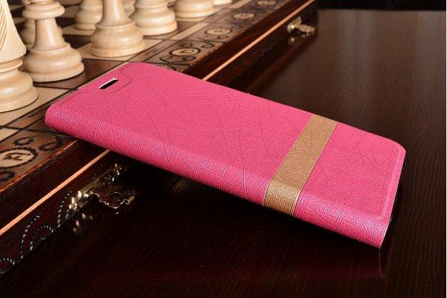 Фирменный чехол-книжка для Samsung Galaxy A5 SM-A520F (2017) розовый с золотой полосой водоотталкивающий