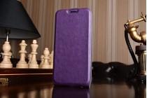 Фирменный оригинальный вертикальный откидной чехол-флип для Samsung Galaxy A5 SM-A520F (2017) фиолетовый из натуральной кожи Prestige Италия