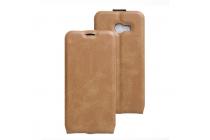 Фирменный оригинальный вертикальный откидной чехол-флип для Samsung Galaxy A5 SM-A520F (2017) коричневый из натуральной кожи Prestige