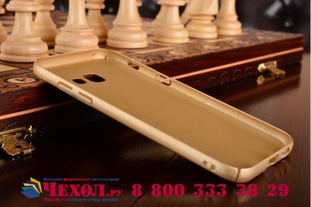 Фирменная задняя панель-крышка-накладка из тончайшего и прочного пластика для Samsung Galaxy A5 SM-A520F (2017) золотая