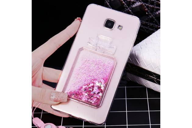 Фирменная роскошная элитная пластиковая задняя панель-накладка украшенная стразами кристалликами со втроенным АКВАРИУМОМ для Samsung Galaxy A5 SM-A520F (2017) розовая