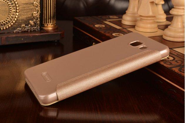 """Фирменный оригинальный чехол-книжка для Samsung Galaxy A7 2016 / A7100 / A710F / A7+ 5.5"""" шампань золотой с окошком для входящих вызовов"""