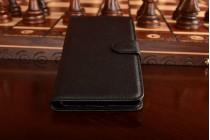 """Фирменный чехол-книжка из качественной импортной кожи с подставкой застёжкой и визитницей для Самсунг Гэлакси / Samsung Galaxy A7 2016 / A7100 / A710F / A7+  5.5""""  черный"""