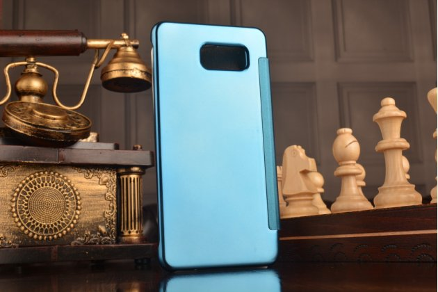 "Фирменный оригинальный чехол-книжка Samsung Galaxy A7 2016 / A7100 / A710F / A7+  5.5"" .2"" синий «Clear View Cover»"
