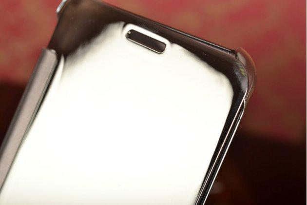 """Фирменный оригинальный чехол-книжка Samsung Galaxy A7 2016 / A7100 / A710F / A7+  5.5"""" .2"""" серебристый синий «Clear View Cover»"""