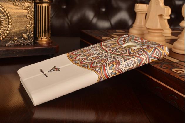 """Фирменный уникальный необычный чехол-книжка для Samsung Galaxy C7(C7000) 5.7"""" с 3D объёмным рисунком """"тематика Эклектические Узоры"""" кожаный"""