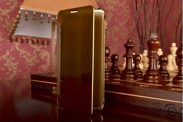 """Фирменный оригинальный чехол-книжка Samsung Galaxy A7 2016 / A7100 / A710F / A7+  5.5"""" .2"""" золотой синий «Clear View Cover»"""