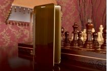 """Фирменный оригинальный чехол-книжка Samsung Galaxy A7 2016 / A7100 / A710F / A7+  5.5"""" .2"""" золотой"""