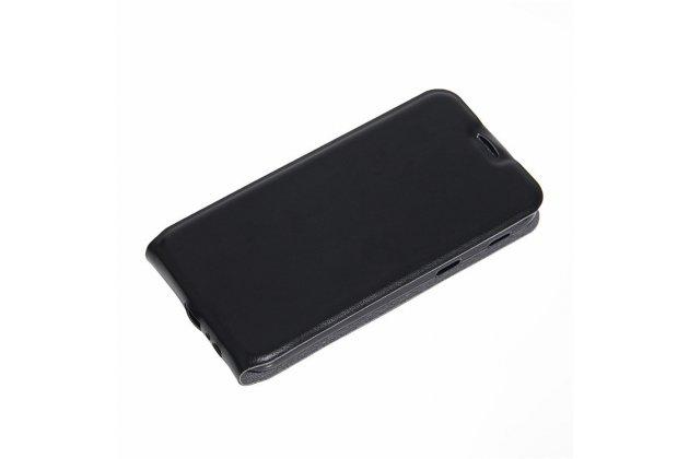 """Фирменный оригинальный вертикальный откидной чехол-флип для  Samsung Galaxy A3 (2017) SM-A320F 4.7"""" черный из натуральной кожи Prestige"""
