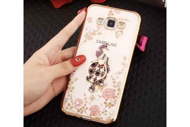 Фирменная роскошная элитная силиконовая задняя панель-накладка украшенная стразами кристалликами и декорированная элементами для Samsung Galaxy A7 Павлин