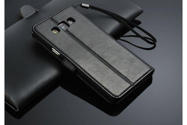 Фирменный чехол-книжка из качественной импортной кожи с подставкой застёжкой и визитницей для Samsung Galaxy A7/ Самсунг Гелакси А7 черный