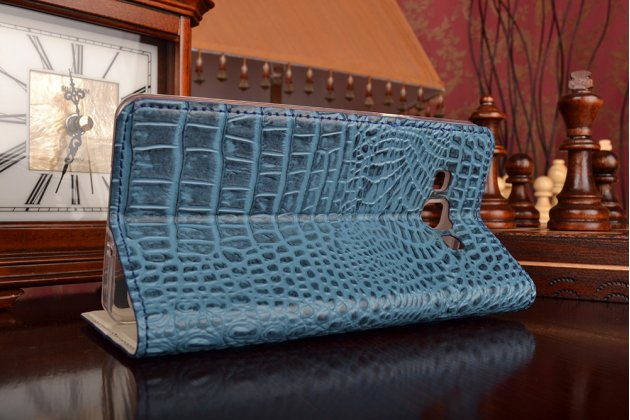 Фирменный роскошный эксклюзивный чехол с объёмным 3D изображением рельефа кожи крокодила синий для Samsung Galaxy A7/A7 Duos SM-A700F/A700H/A700FD. Только в нашем магазине. Количество ограничено