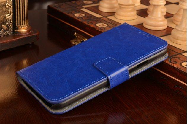 Фирменный чехол-книжка из качественной импортной кожи с подставкой застёжкой и визитницей для Samsung Galaxy A8/ Самсунг Гелакси А8 синий