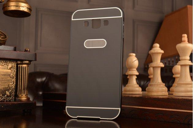 Фирменная металлическая задняя панель-крышка-накладка из тончайшего облегченного авиационного алюминия для Samsung Galaxy A8 SM-A800F/DS/Dual Sim/Duos  черная