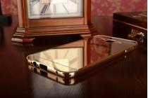 Фирменная металлическая задняя панель-крышка-накладка из тончайшего облегченного авиационного алюминия для Samsung Galaxy A8 SM-A800F/DS/Dual Sim/Duos  золотая