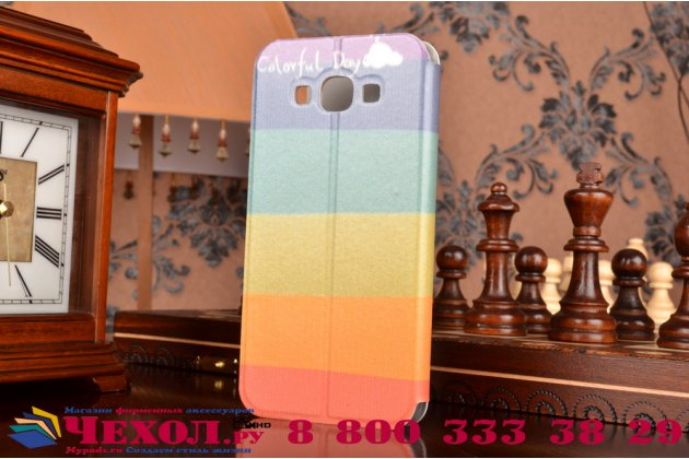 """Фирменный уникальный необычный чехол-книжка для Samsung Galaxy A8 SM-A800F/DS/Dual Sim/Duos  """"тематика все цвета радуги"""""""