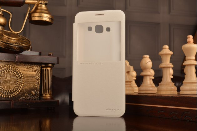 Фирменный оригинальный чехол-книжка для Samsung Galaxy A8 SM-A800F/DS/Dual Sim/Duos  белый с окошком для входящих вызовов водоотталкивающий