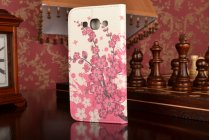 """Фирменный уникальный необычный чехол-книжка для Samsung Galaxy A8 SM-A800F/DS/Dual Sim/Duos  """"тематика цветок Сакуры"""""""