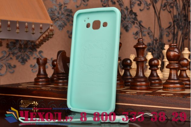 """Фирменная необычная уникальная полимерная мягкая задняя панель-чехол-накладка для Samsung Galaxy A8 SM-A800F/DS/Dual Sim/Duos  """"тематика Андроид в мятном шоколаде"""""""