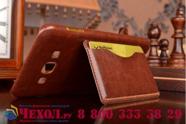 Фирменная роскошная элитная премиальная задняя панель-крышка для Samsung Galaxy A8 SM-A800F/DS/Dual Sim/Duos  из качественной кожи буйвола с визитницей коричневый