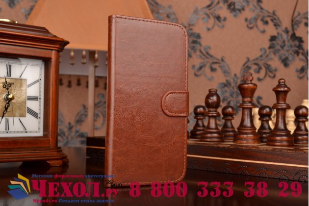 Фирменный чехол-книжка из качественной импортной кожи с мульти-подставкой застёжкой и визитницей для Самсунг Галакси А8 СМ-А800Ф ДС/ Дуал Сим/ Дуос коричневый