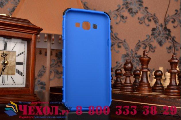 Противоударный усиленный ударопрочный фирменный чехол-бампер-пенал для  Samsung Galaxy A8 SM-A800F/DS/Dual Sim/Duos  синий