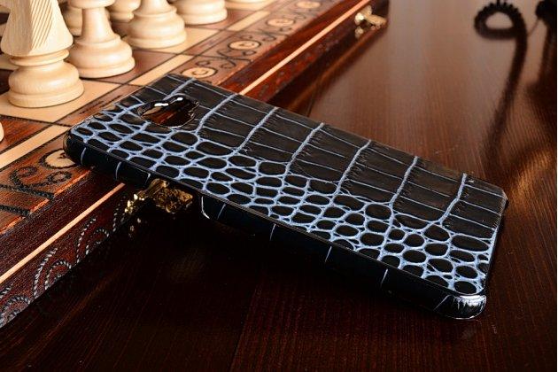Фирменная элегантная экзотическая задняя панель-крышка из натуральной кожи крокодила для Samsung Galaxy A9 Pro SM-A910F/DS 6.0 синяя.Только в нашем магазине. Количество ограничено