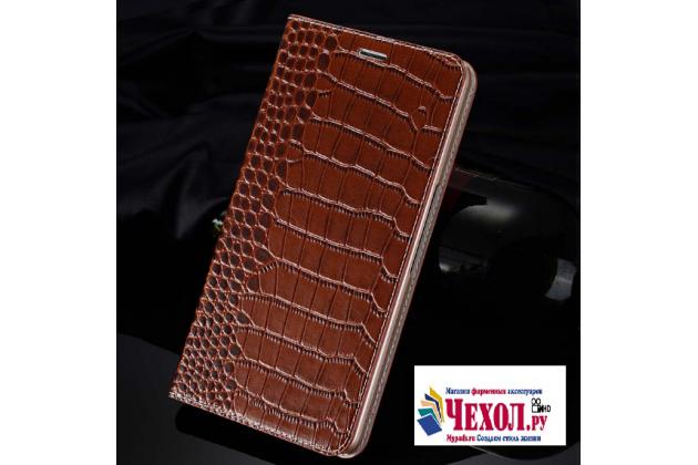 Фирменный чехол-книжка с подставкой для Samsung Galaxy A9 Pro SM-A910F/DS 6.0 лаковая кожа крокодила коричневый
