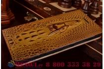 """Фирменный роскошный эксклюзивный чехол с объёмным 3D изображением кожи крокодила коричневый для Samsung Galaxy A9 2016 A900F /A9000 6.0"""". Только в нашем магазине. Количество ограничено"""