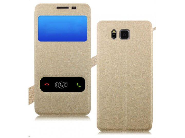 Фирменный оригинальный чехол-книжка для Samsung Galaxy Ace Style LTE SM-G357FZ золотой водоотталкивающий с око..