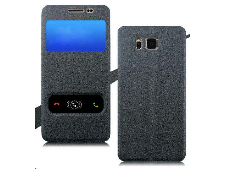 Фирменный оригинальный чехол-книжка для Samsung Galaxy Ace Style LTE SM-G357FZ черный водоотталкивающий с окош..