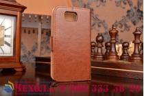 Фирменный чехол-книжка из качественной импортной кожи с мульти-подставкой застёжкой и визитницей для Самсунг Гелакси Альфа СМ-Г850Ф коричневый
