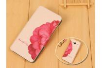 """Фирменный чехол-книжка с безумно красивым рисунком на Samsung Galaxy Alpha SM-G850F """"тематика Алый цветок"""""""