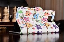 """Фирменный уникальный необычный чехол-книжка для Samsung Galaxy Alpha SM-G850F """"тематика Сова"""""""