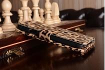 """Фирменный уникальный необычный чехол-подставка для Samsung Galaxy Alpha SM-G850F тематика """"Леопард"""""""