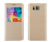 Фирменный чехол-книжка для Samsung Galaxy Alpha SM-G850F с функцией умного окна(входящие вызовы, фонарик, плее..