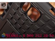 Противоударный усиленный ударопрочный фирменный чехол-бампер-пенал для Samsung Galaxy Alpha SM-G850F черный..